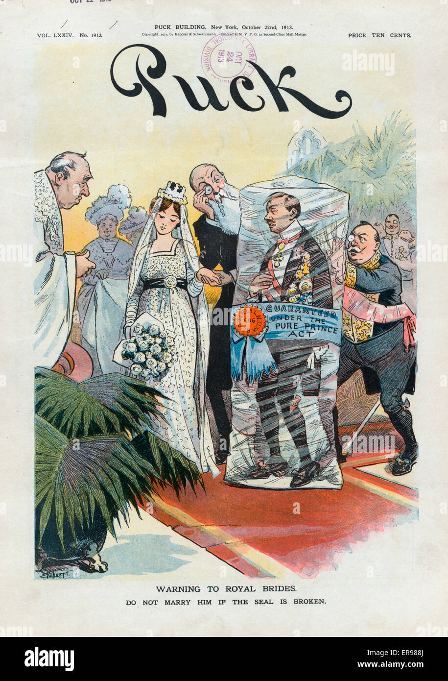 Warning to royal brides. Do not marry him if the seal is broken. Illustration shows a royal wedding where the groom - Stock Image