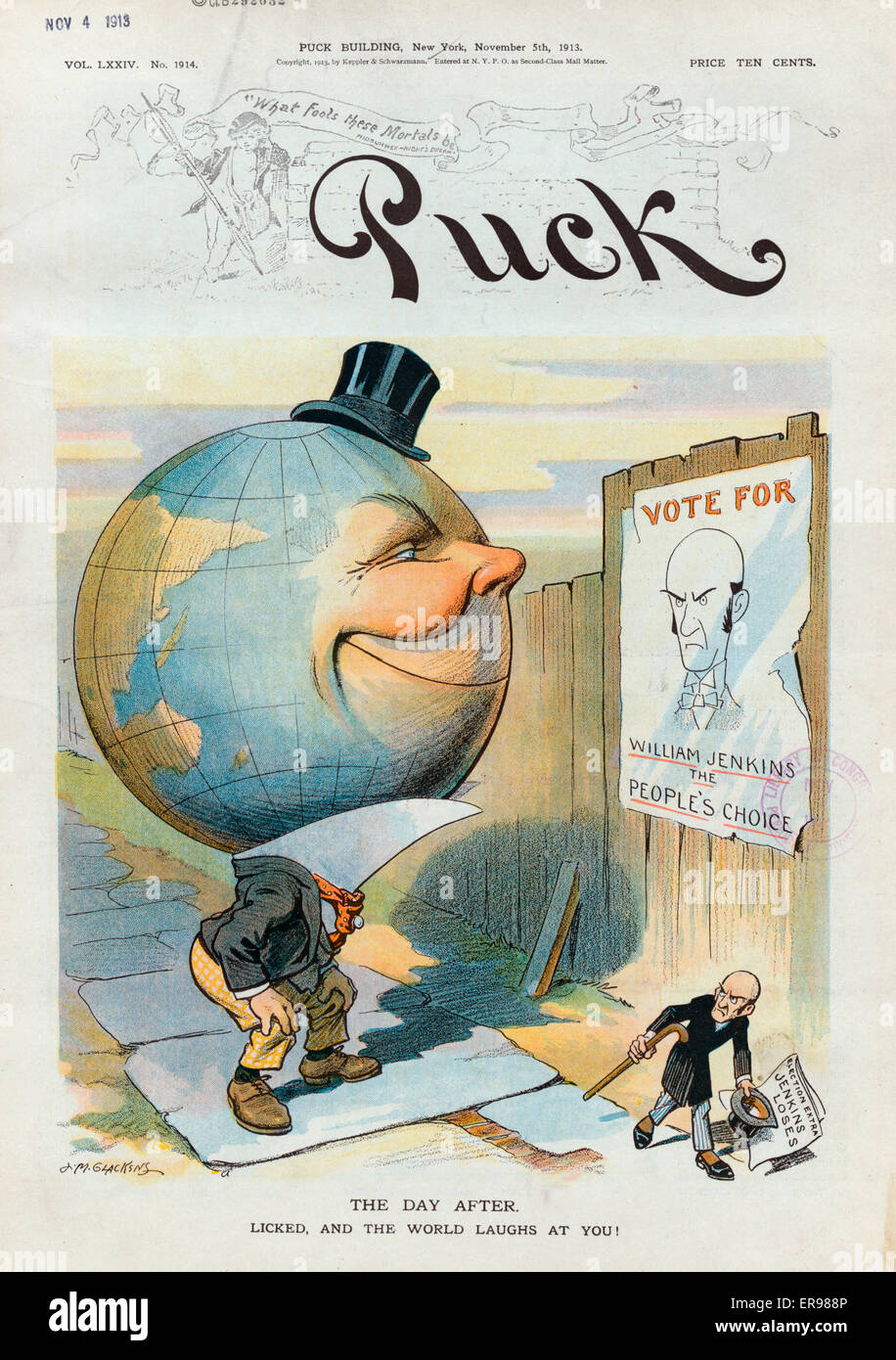 The day after. Licked, and the world laughs at you!. Illustration shows a human figure with a large globe for a - Stock Image