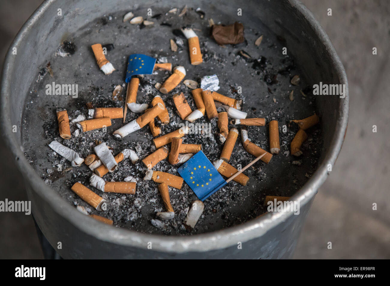 Ashtray with European flags - Stock Image