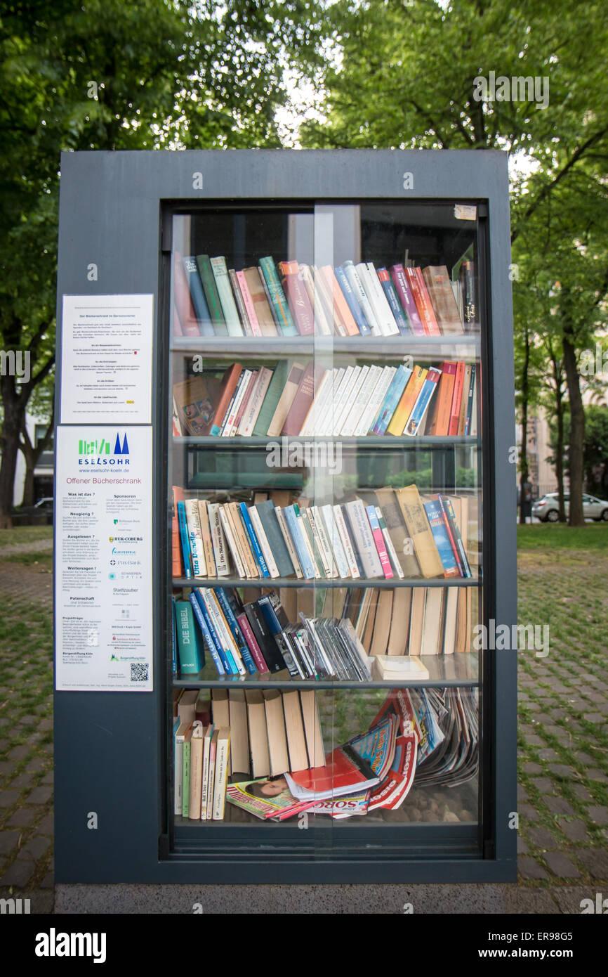 book exchange shelf - Stock Image