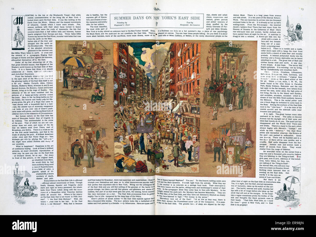 Summer days on New York's east side. Illustration shows a crowded street between tenement buildings, with street - Stock Image
