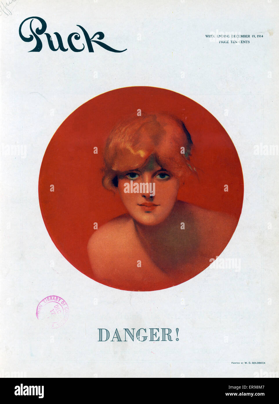 Danger. Illustration shows a head-and-shoulders portrait of a beautiful young woman, facing front, in a red circle. - Stock Image