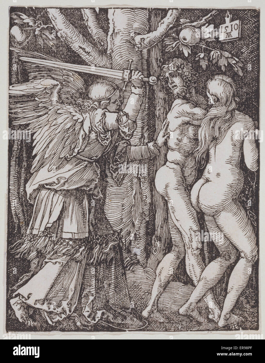 Small Passion. The expulsion from Paradise. Date 1510. - Stock Image