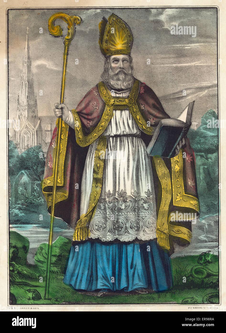 The Apostle of Ireland St. Patrick: born A.D. 372, died A.D. 464. Serpentes et omnia venenata animalia ex Hibernia Stock Photo