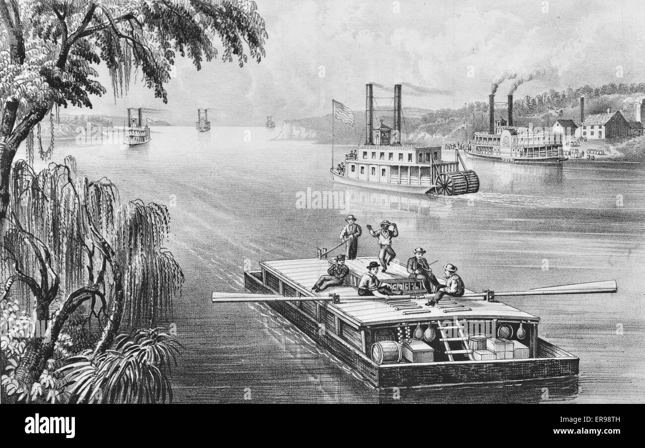 Bound down the River. Date 1870. - Stock Image