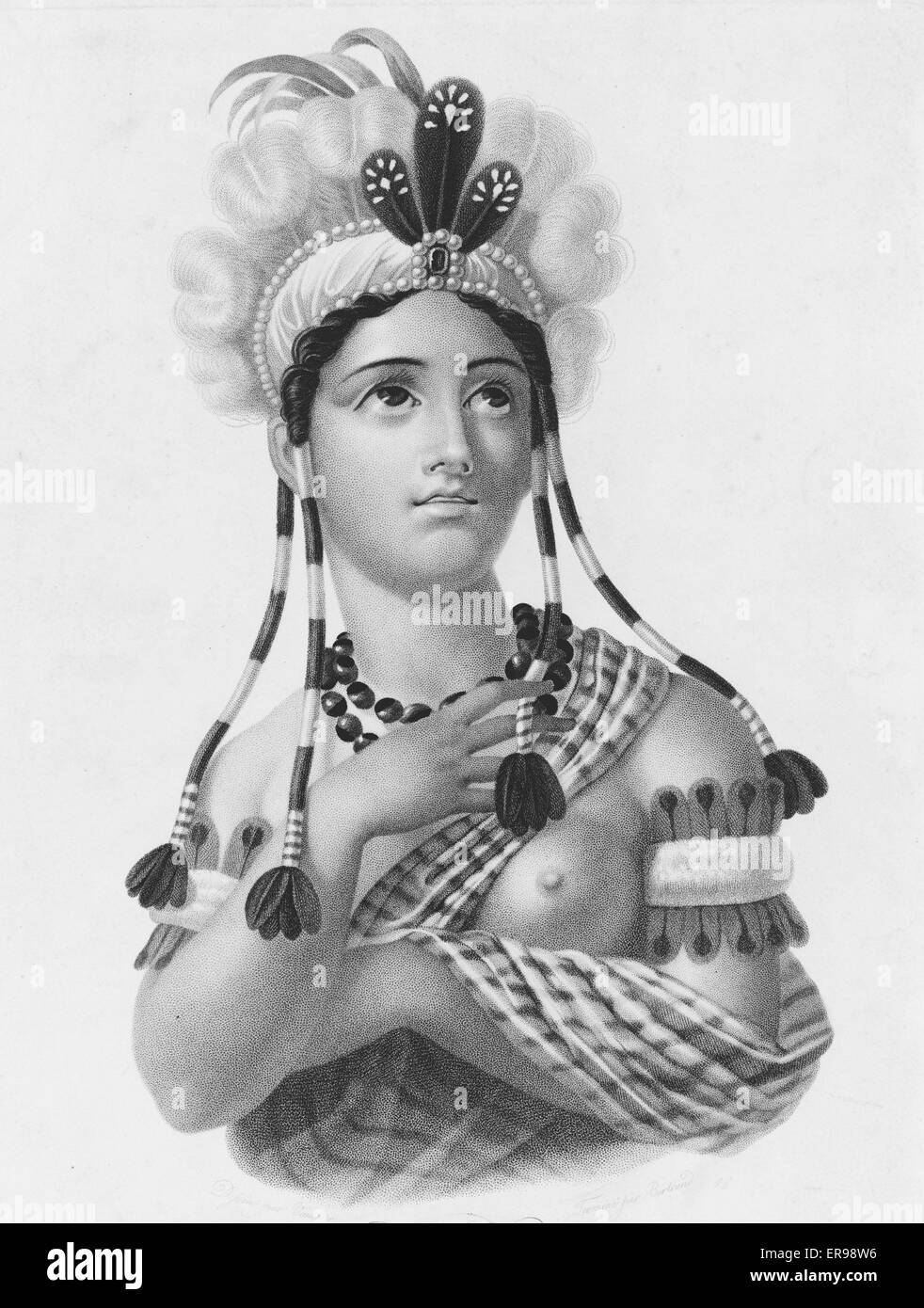 L'Amerique. American Indian woman, half-length portrait, bare-breasted. Date 181-?. - Stock Image
