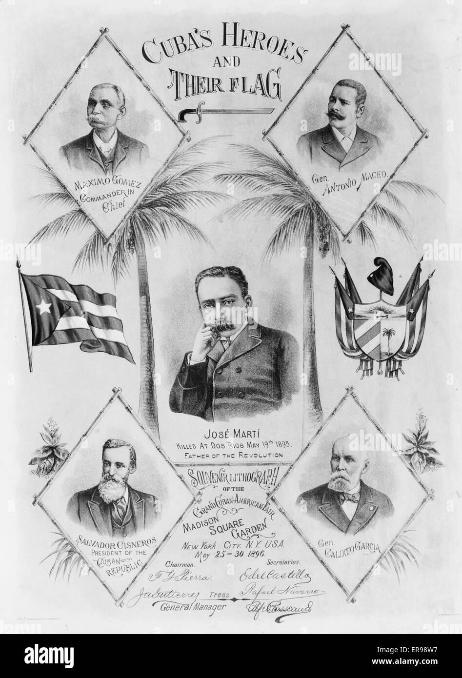 Cuba's heroes and their flag. Portraits of Maximo Gomez, Gen. Antonio Maceo, Josae Marta, Salvador Cisneros, - Stock Image