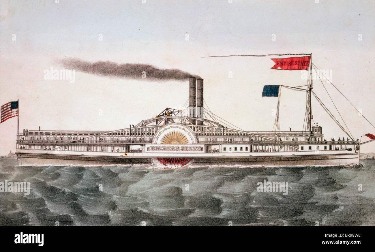 Buffalo & Chicago steam packet empire state: M. Hazard, Commander. Date between 1835 and 1856. Buffalo & - Stock Image