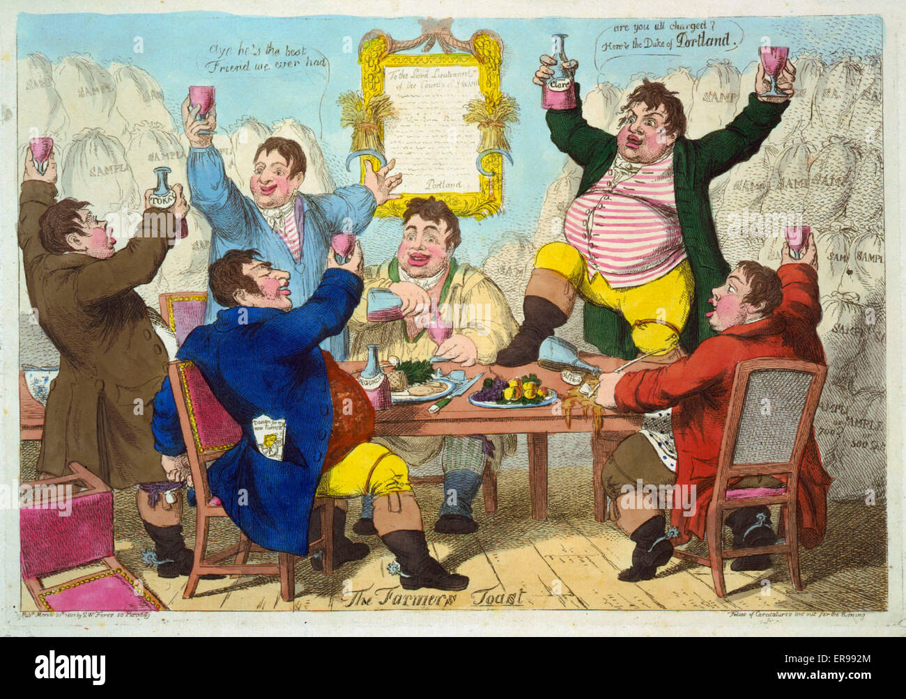 The Farmers toast. British cartoon showing six fat farmers eating and drinking at a table. The farmers are 'monopolists', - Stock Image