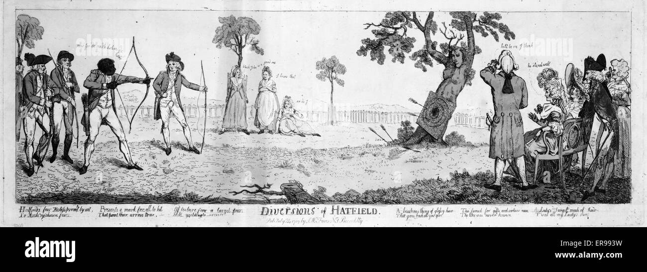 Diversions of Hatfield. Five men taking part in an archery contest. The target is placed on a tree in the form of Stock Photo