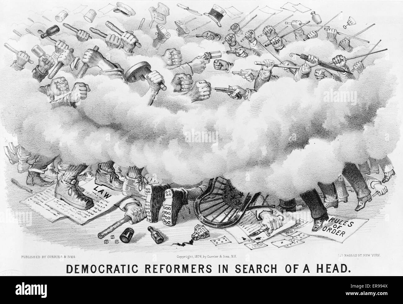 Democratic reformers in search of a head. A mild parody on the strife and corruption within the New York Democratic - Stock Image