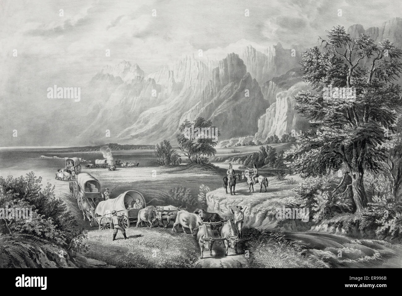 The Rocky Mountains : emigrants crossing the plains. Date 1866. - Stock Image
