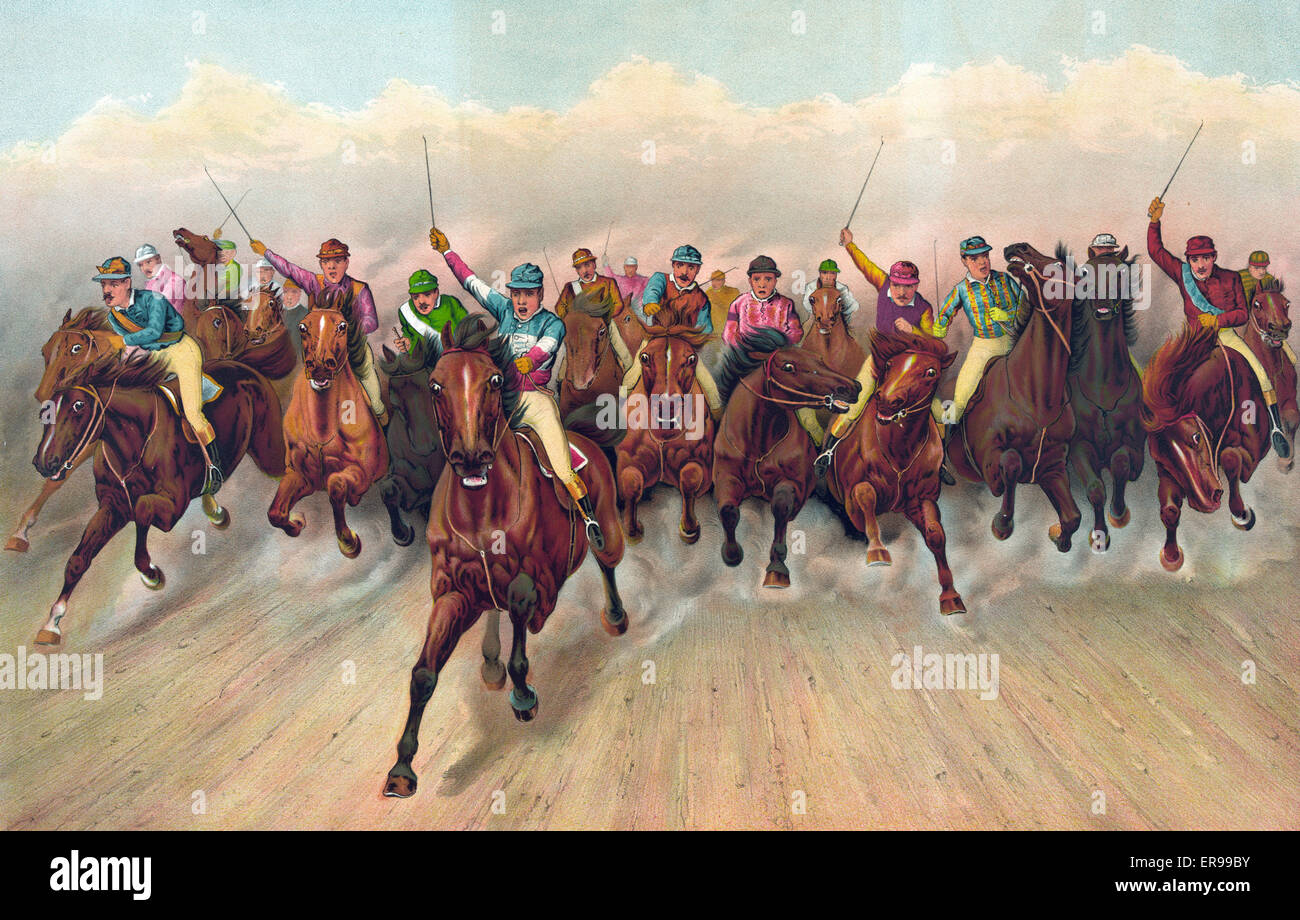 A great field in a grand rush. Nineteen jockeys horse racing. c. 1888 - Stock Image