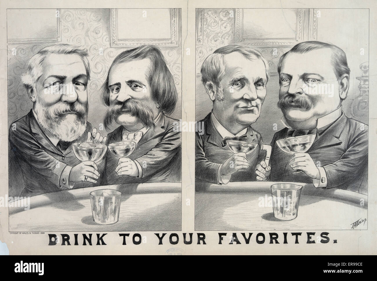 Drink to your favorites. Composite of two caricatures of James G. Blaine and John A. Logan toasting each other, - Stock Image