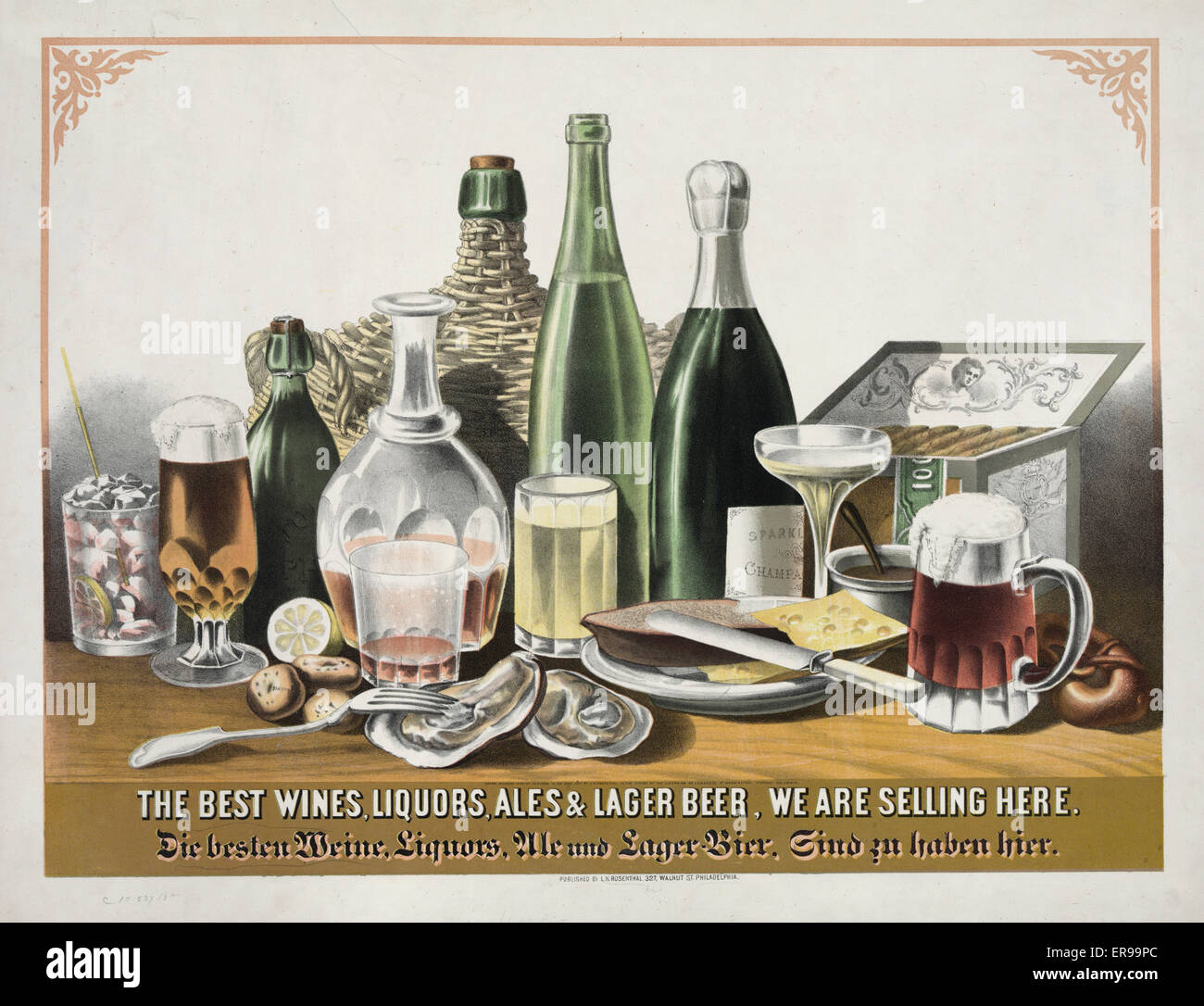 The best wines, liquors, ales & lager beer, we are selling here. Food and alcholic beverages on table. Date - Stock Image