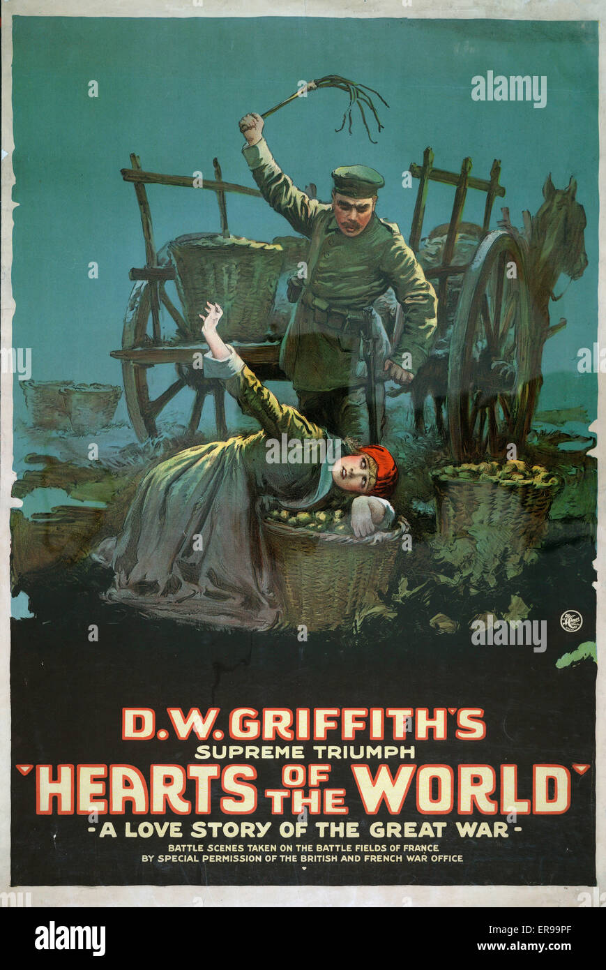 Hearts of the world A love story of the great war. Motion picture poster showing soldier holding whip over woman - Stock Image