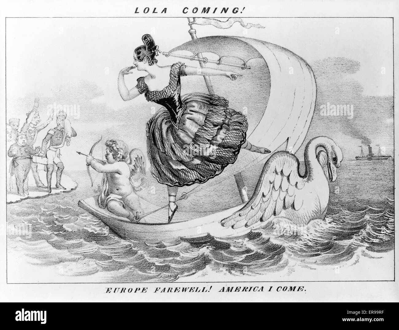 Lola coming! Europe farewell! America I come. Caricature of theater scene, showing Lola Montez and Cupid on swan - Stock Image