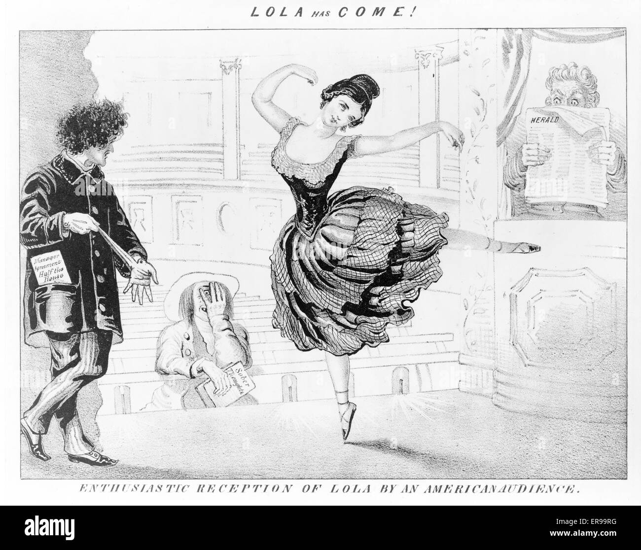 Lola has come! Enthusiastic reception of Lola by American audience. Caricature of theater scene, showing Lola Montez - Stock Image