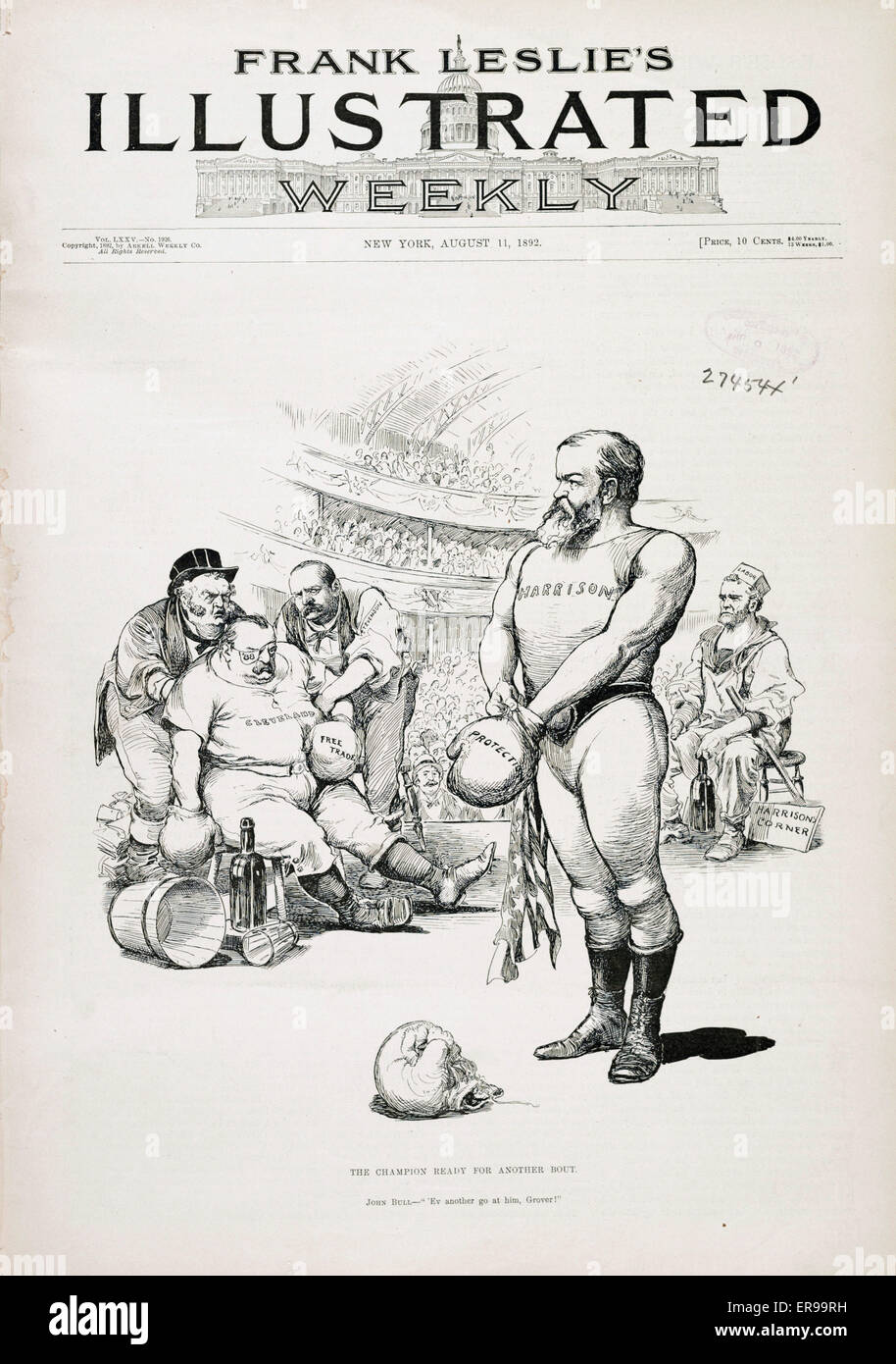 The champion ready for another bout. Illustration shows Benjamin Harrison, standing in boxing ring, pulling on a - Stock Image