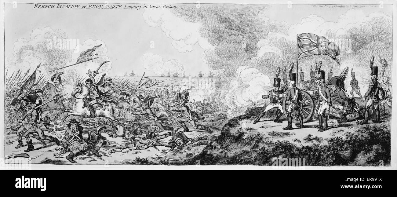 French invasion - or - Buonaparte landing in Great-Britain. Cartoon showing Napoleon and his army, on seashore, - Stock Image