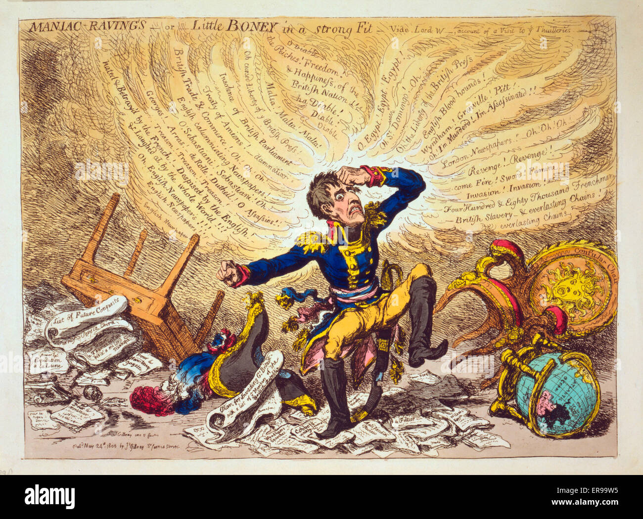 Maniac-raving's-or-Little Boney in a strong fit. Cartoon showing Napoleon in a fury over relations between France - Stock Image