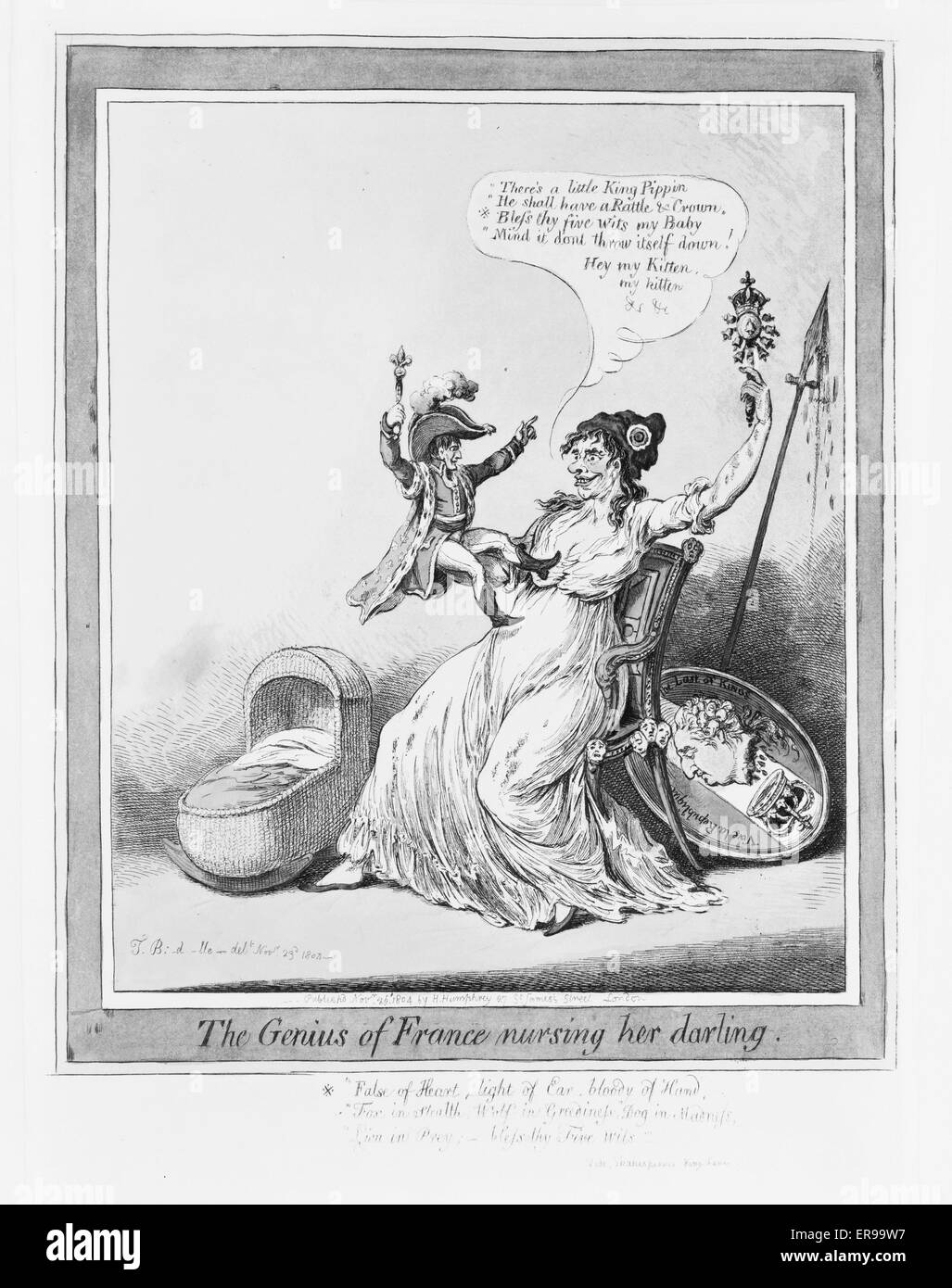 The genius of France nursing her darling. Cartoon showing France, a savage virago, dandling a tiny Napoleon seated - Stock Image