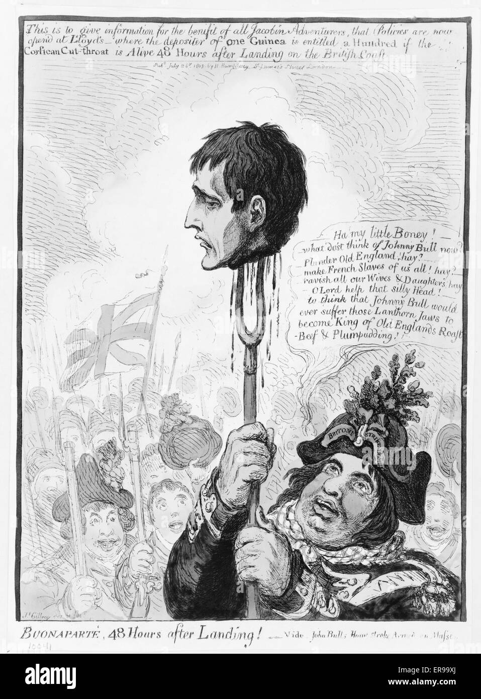Buonaparte, 48 hours after landing!--Vide John Bulls home-stroke, armed en masse. Head of Napoleon dripping blood, Stock Photo