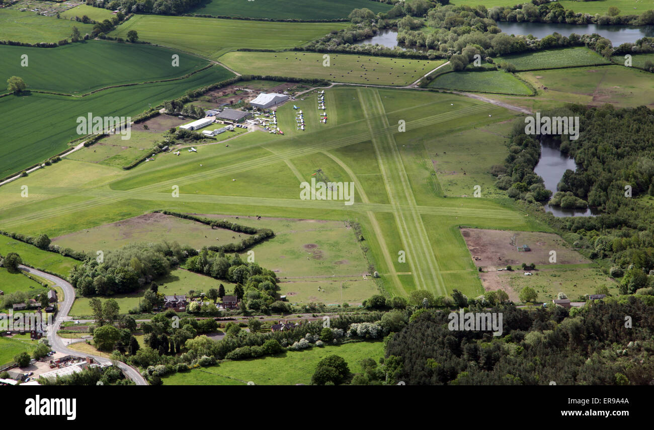 aerial view of Derby Airfield, the home of Derby Aero Club, UK Stock Photo