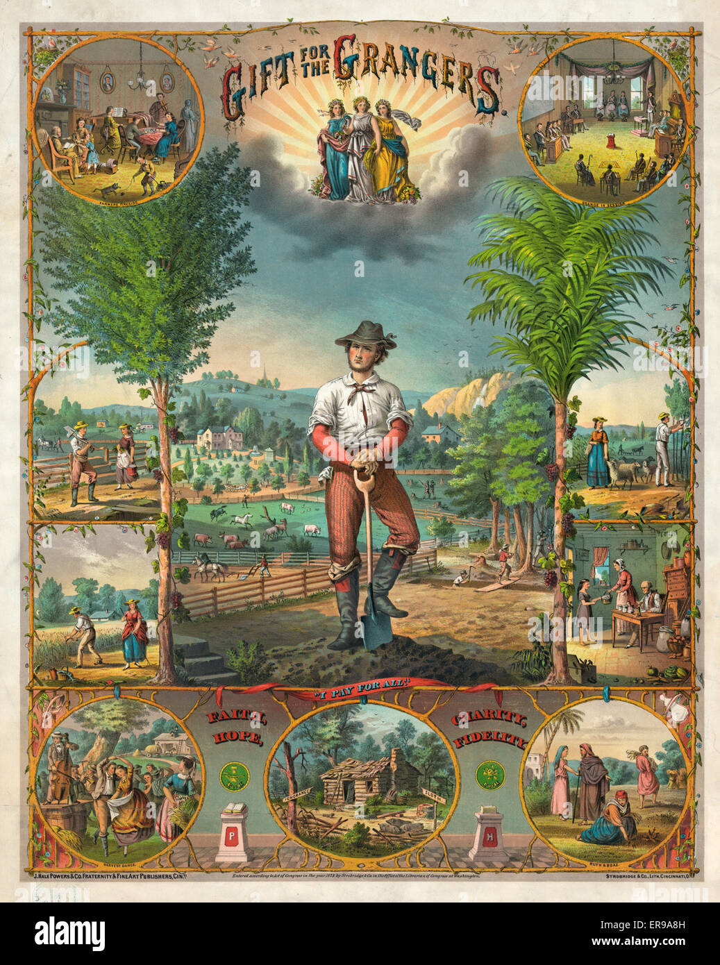 Gift for the grangers. Promotional print for Grange members showing scenes of farming and farm life. Date c1873. - Stock Image