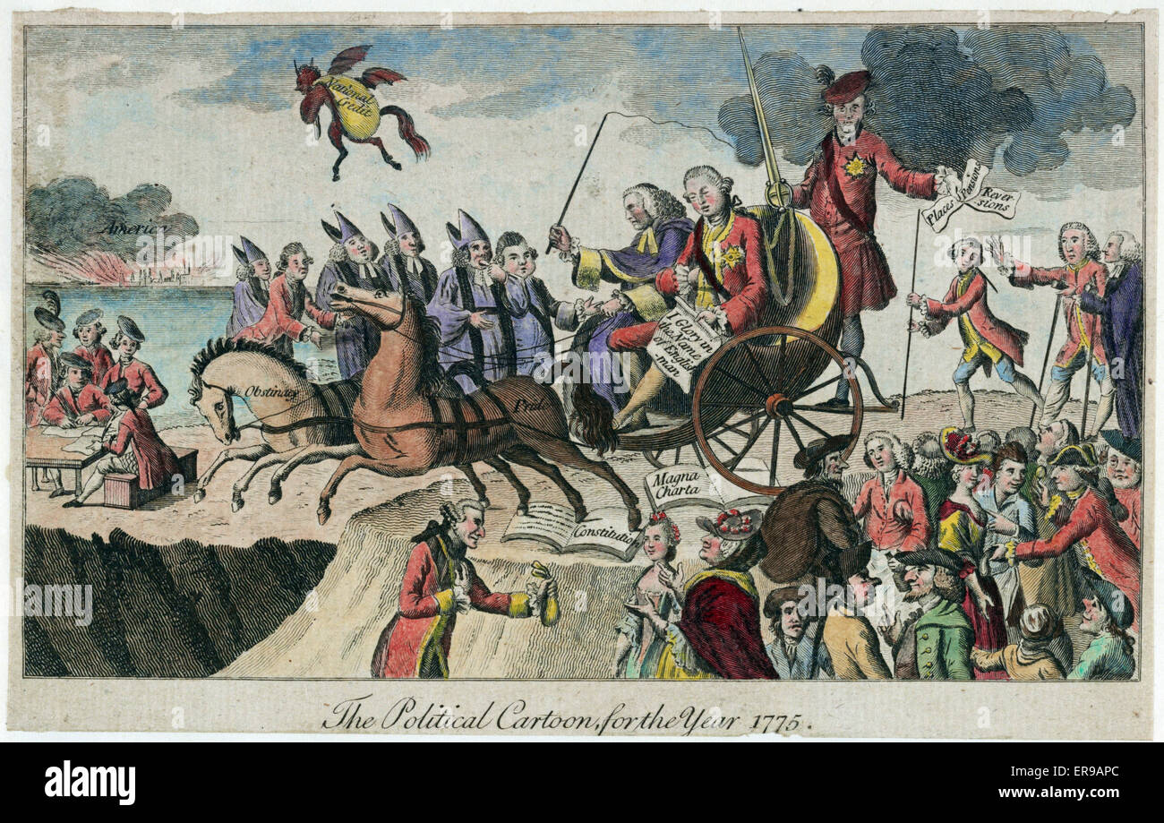 The political cartoon for the year 1775. Cartoon shows George III and Lord  Mansfield, seated on an open chaise drawn by two horses labeled Obstinacy  and ...