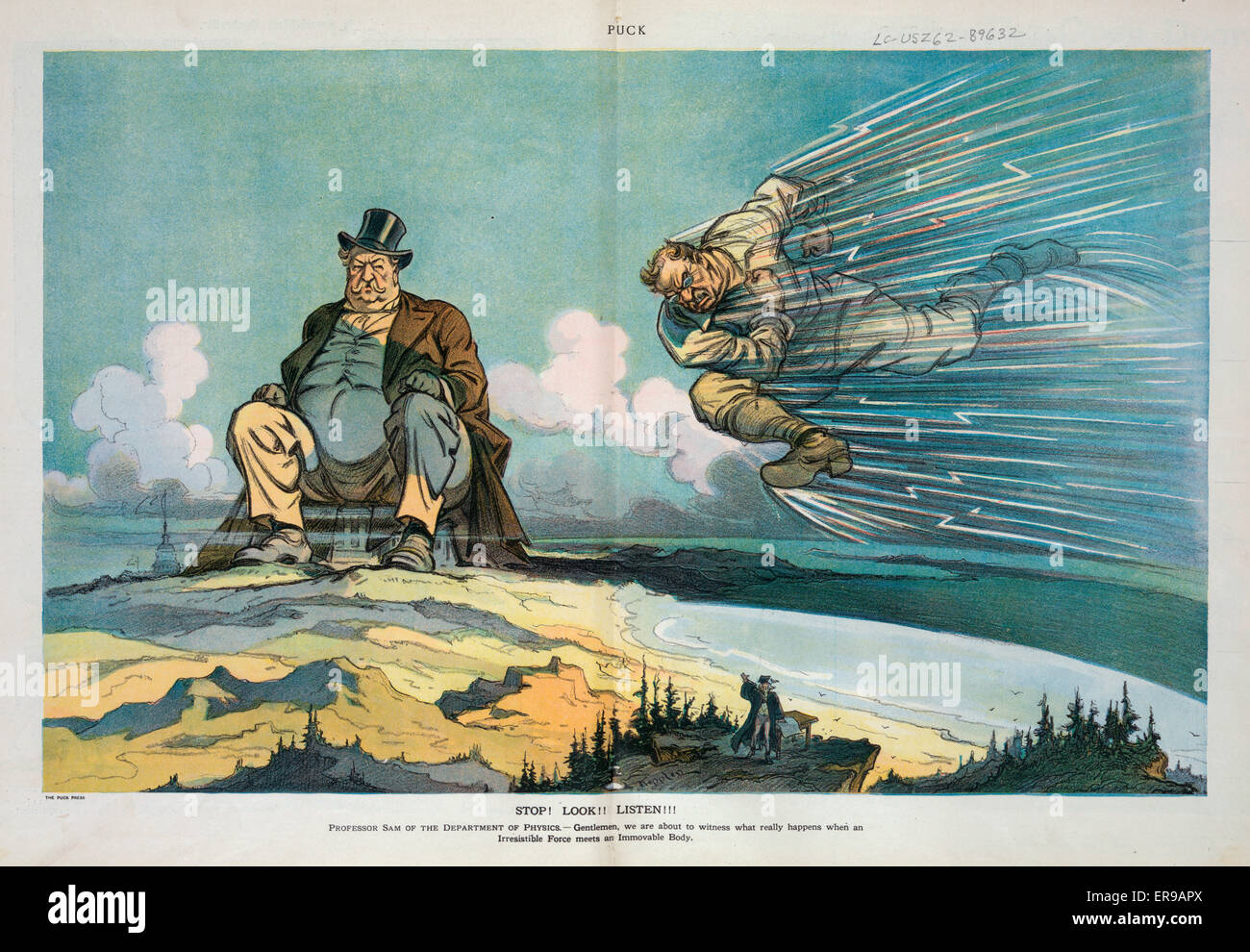 Stop! Look!! Listen!!!. Ilustration shows Theodore Roosevelt charging through air at a high rate of speed at an - Stock Image