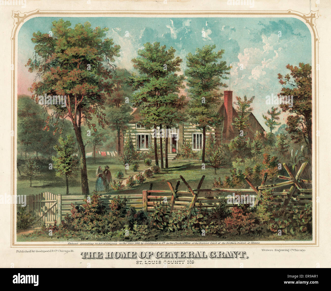 The home of General Grant, St. Louis County, Mo. Man and woman walking in foreground; girl waving from door. Date - Stock Image