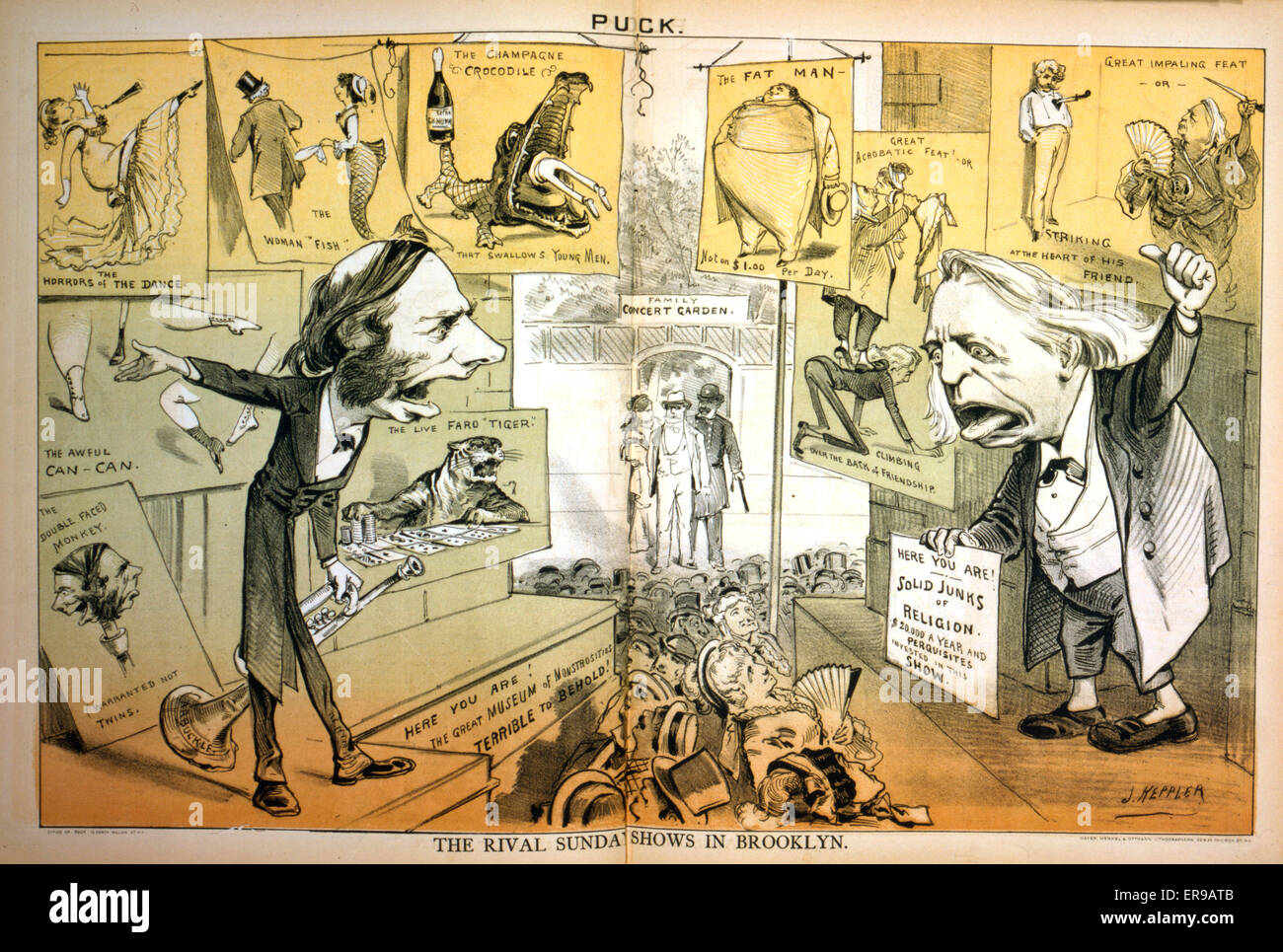 The rival Sunday shows in Brooklyn. Cartoon showing Thomas DeWitt Talmage on one side, trying to get people to come - Stock Image