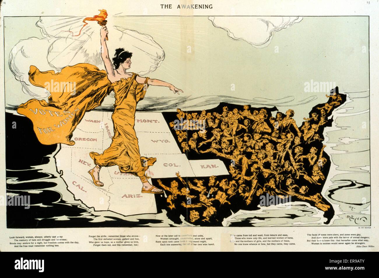 The awakening. Illustration shows a torch-bearing female labeled Votes for Women, symbolizing the awakening of the - Stock Image