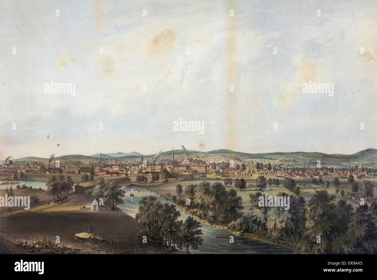 City of Concord, N.H. - From the high bluff about 80 rods north east of the Free Bridge. Date between 1851 and 1855. - Stock Image