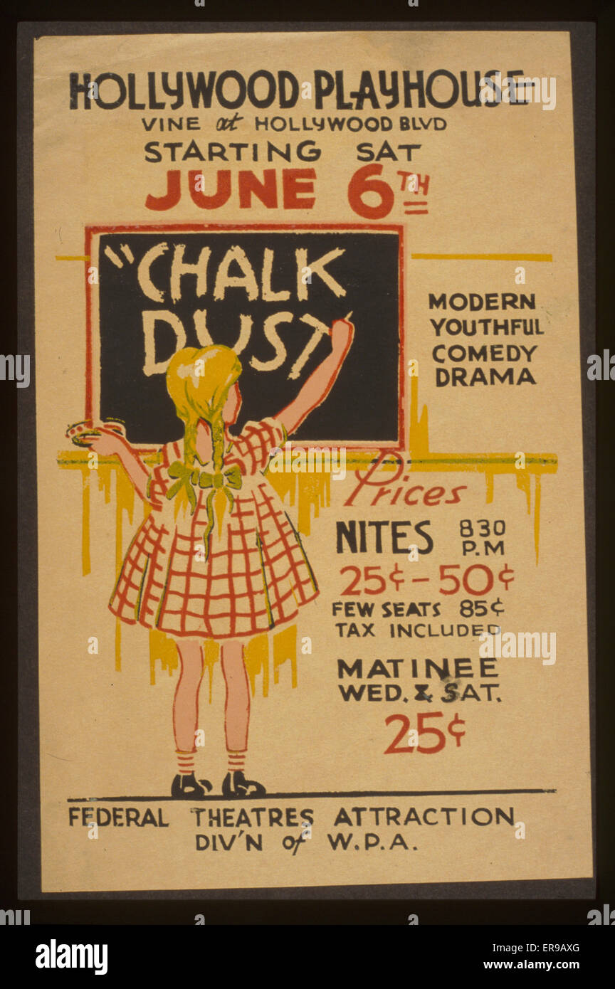 Chalk Dust Modern Youthful Comedy Drama Poster For Federal Theatre Project Presentation Of At The Hollywood Playhouse Showing A Girl Writing