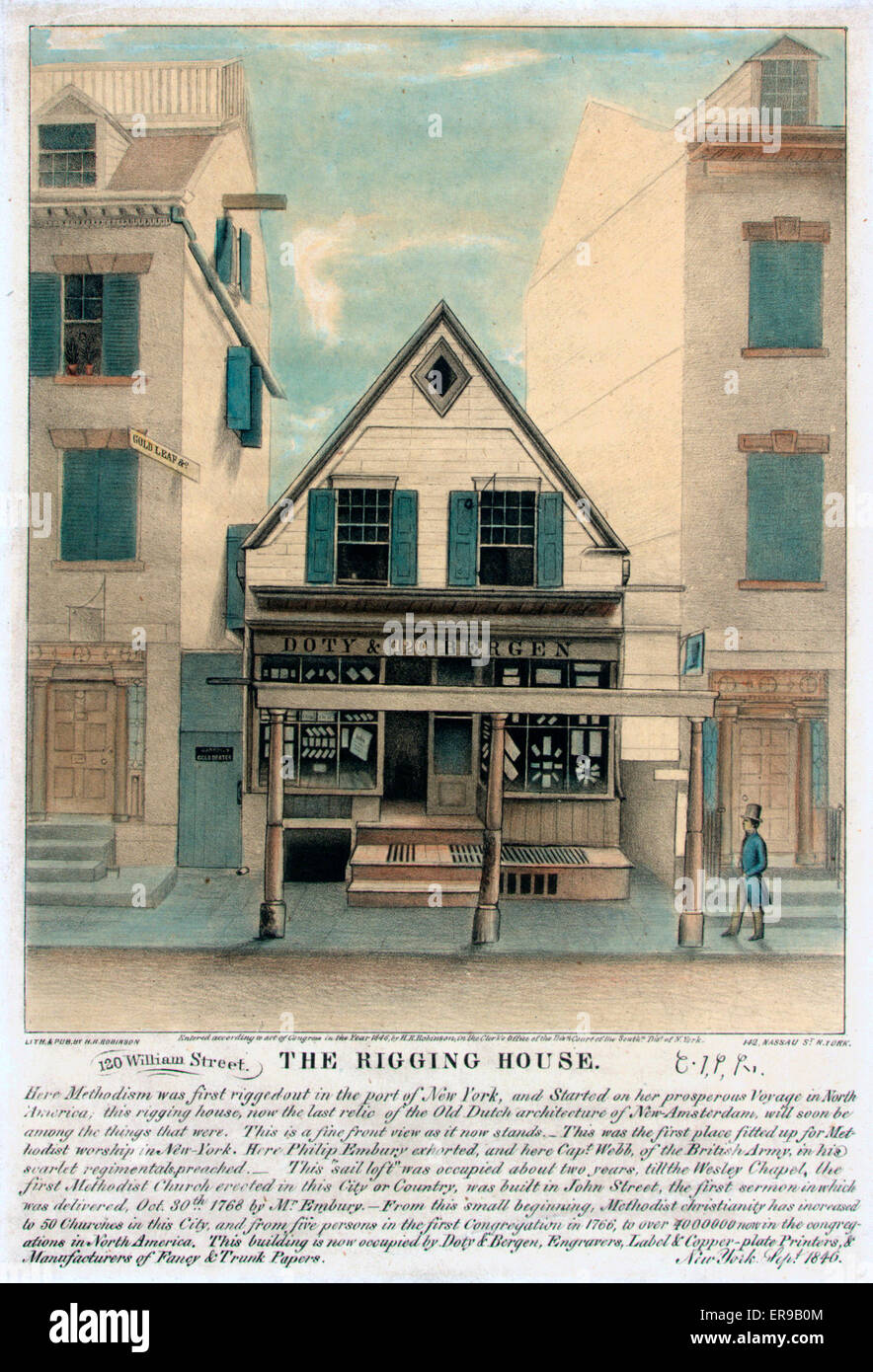 The rigging house. Exterior view of the Rigging House, 120 William Street, New York City, formerly a Methodist church - Stock Image