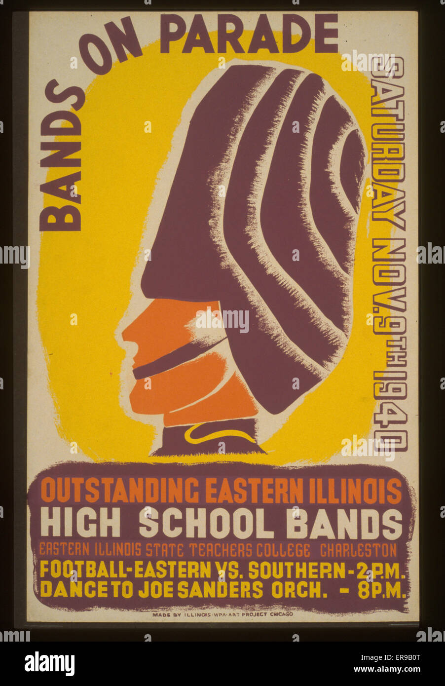 Bands on parade outstanding eastern Illinois high school bands. Poster for a high school band parade at Eastern - Stock Image