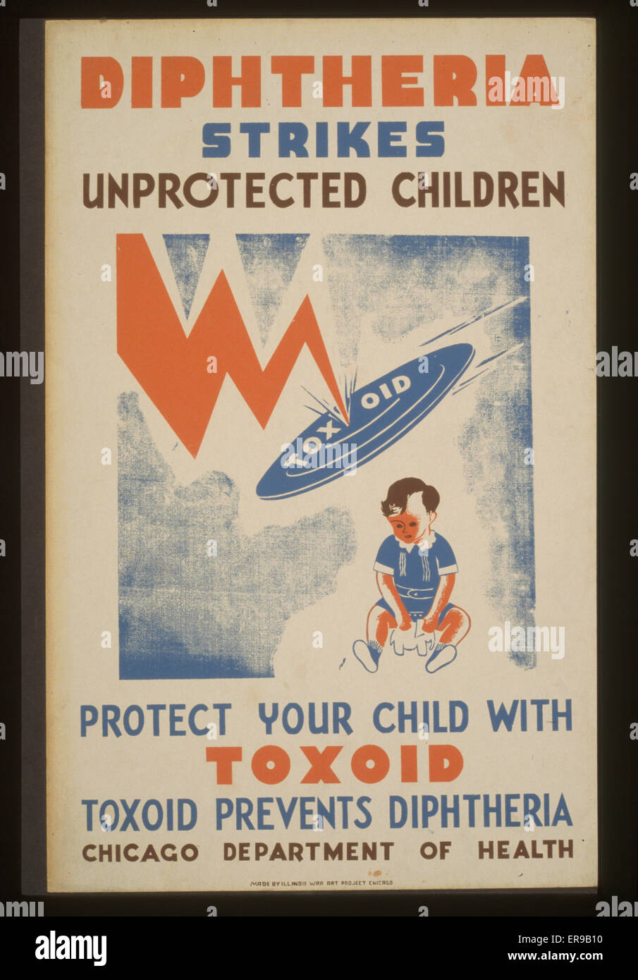 Diphtheria strikes unprotected children Protect your child with toxoid - Toxoid prevents diptheria : Chicago Department - Stock Image