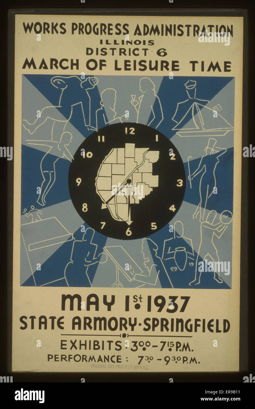 Works progress administration illinois district 6 march of stock works progress administration illinois district 6 march of leisure time may 1st 1937 state armory springfield poster showing a map in the center of gumiabroncs Images