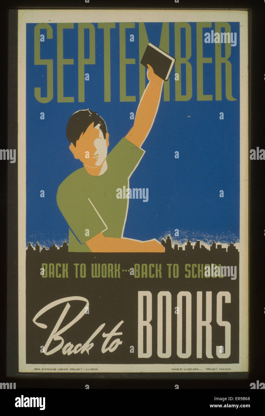 back to work back to school back to books poster for wpa statewide library project showing a boy holding a book in his raised hand