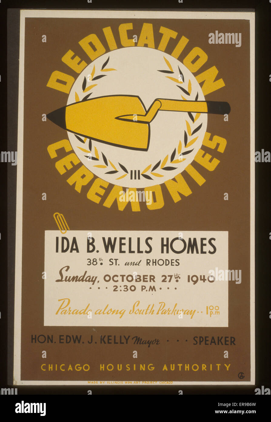 Dedication ceremonies - Ida B. Wells Homes  parade along South Parkway  Chicago Housing Authority. Poster showing - Stock Image