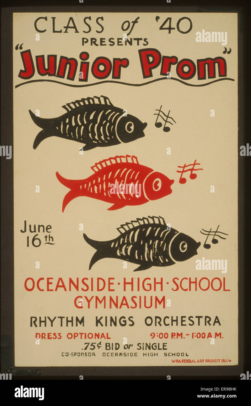 Class of '40 presents Junior prom Oceanside High School gymnasium : Rhythm Kings Orchestra. Poster for presentation - Stock Image