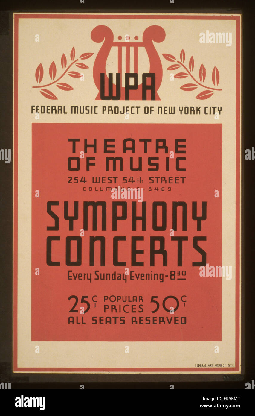 Symphony concerts WPA Federal Music Project of New York City Theatre of Music. Poster announcing Federal Music Project - Stock Image
