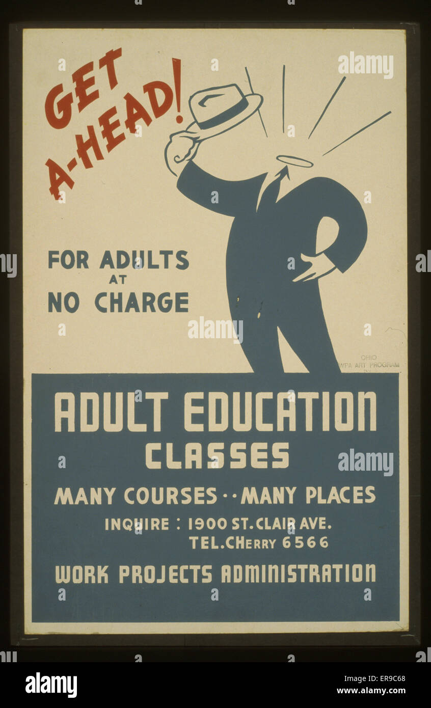 Get ahead! Adult education classes : For adults at no charge. Poster encouraging adults to attend adult education - Stock Image