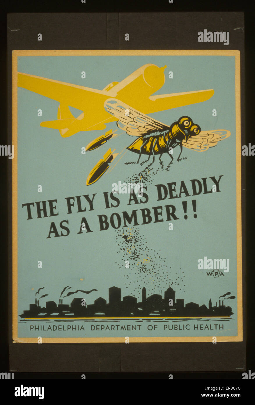 The fly is as deadly as a bomber!!. Poster for Philadelphia Department of Health warning of potential health risks - Stock Image