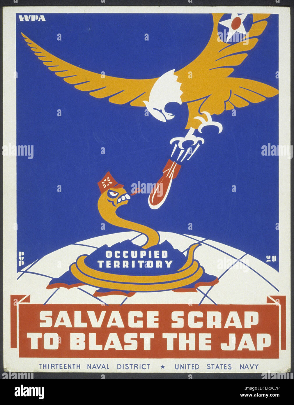 Salvage scrap to blast the jap. Poster for Thirteenth Naval District, United States Navy, showing a snake representing - Stock Image