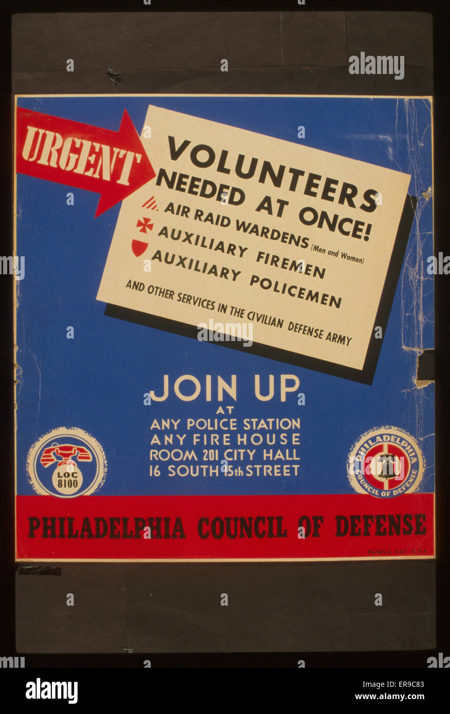 Urgent - volunteers needed at once! Join up at any police station, any firehouse, or Room 201 City Hall, 16 South - Stock Image