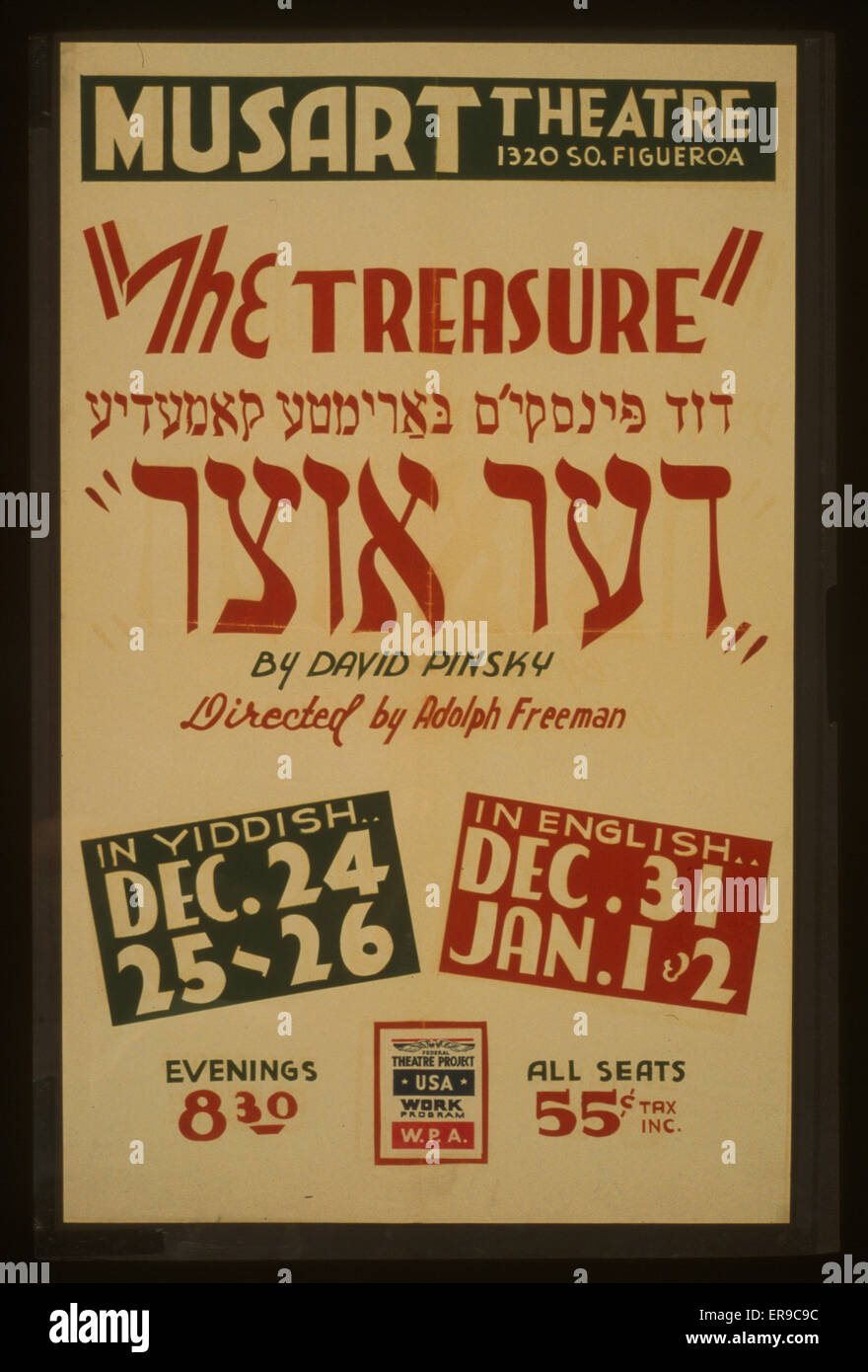 The treasure by David Pinsky, directed by Adolph Freeman. Poster for Federal Theatre Project presentation of The - Stock Image