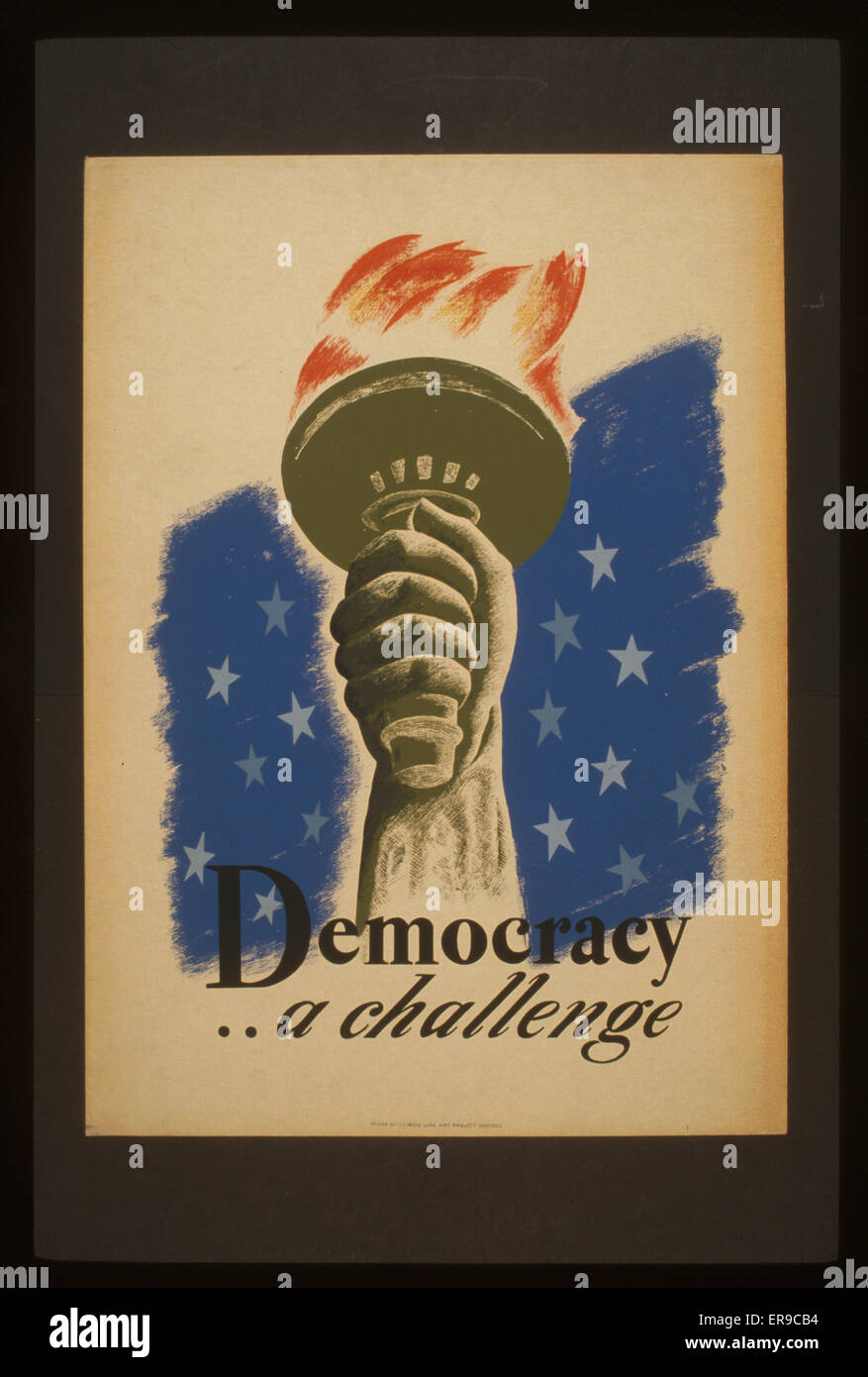 Democracy  a challenge. Poster for democracy showing the hand and torch of the Statue of Liberty. Date between 1936 - Stock Image
